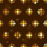 Fondo senza cuciture del modello della piastrellatura con la palla dorata geometrica della discoteca, flash, stelle, scintille Fotografia Stock