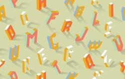 Fondo senza cuciture del modello di ABC di vettore isometrico di alfabeto royalty illustrazione gratis