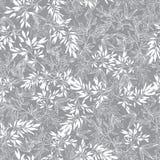 Fondo senza cuciture del modello di Grey Blossom Branches Leaves Summer di vettore Grande per il tessuto grigio elegante di strut illustrazione vettoriale