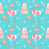 Fondo senza cuciture del modello di nozze con i dolci e gli elementi decorativi romantici del fumetto molle Immagine Stock Libera da Diritti
