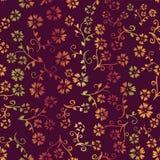 Fondo senza cuciture del modello di vettore del fiore di autunno Fiori di pendenza di giallo arancio sulla porpora Progettazione  illustrazione di stock