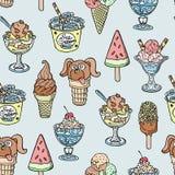 Fondo senza cuciture del modello del handdrown di schizzo del dooddle del gelato di vettore dell'illustrazione differente del des illustrazione vettoriale