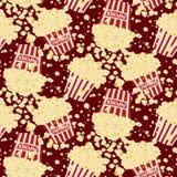 Fondo senza cuciture del popcorn di vettore Fotografia Stock