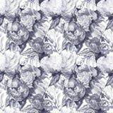 Fondo senza cuciture del tessuto del modello della rosa floreale della peonia del fiore dell'acquerello illustrazione di stock