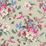 Fondo senza cuciture dell'acquerello con i fiori rosa royalty illustrazione gratis