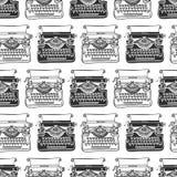 Fondo senza cuciture della macchina da scrivere d'annata Vettore disegnato a mano Fotografia Stock