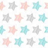 Fondo senza cuciture della stella pastello molle Stella grigia, rosa e blu Fotografie Stock