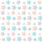 Fondo senza cuciture della stella pastello molle Stella grigia, rosa e blu Immagini Stock