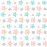 Fondo senza cuciture della stella pastello molle Stella grigia, rosa e blu Immagine Stock Libera da Diritti