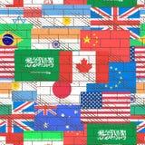 Fondo senza cuciture delle bandiere Fotografie Stock Libere da Diritti