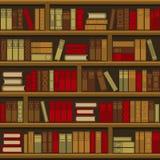 Fondo senza cuciture dello scaffale di libro delle biblioteche Vettore Immagini Stock