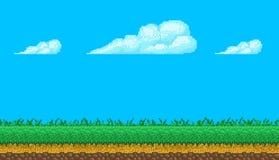 Fondo senza cuciture di arte del pixel con il cielo e la terra Fotografia Stock Libera da Diritti