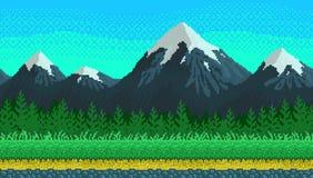 Fondo senza cuciture di arte del pixel con le montagne Fotografie Stock