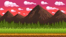 Fondo senza cuciture di arte del pixel con le montagne illustrazione di stock
