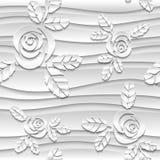 Fondo senza cuciture di bianco dell'estratto 3D Rose di carta Immagine Stock Libera da Diritti