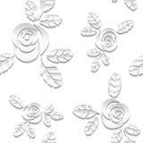 Fondo senza cuciture di bianco dell'estratto 3D Rose di carta Immagini Stock Libere da Diritti
