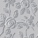 Fondo senza cuciture di bianco dell'estratto 3D Rose di carta Fotografia Stock Libera da Diritti