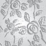 Fondo senza cuciture di bianco dell'estratto 3D Rose di carta con goccia Immagini Stock Libere da Diritti