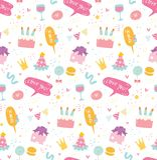 Fondo senza cuciture di compleanno nel vettore di stile di kawaii illustrazione di stock