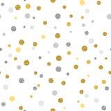Fondo senza cuciture di Cristmas con i punti dell'oro e dell'argento di scintillio Immagine Stock