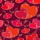 Fondo senza cuciture di giorno di biglietti di S. Valentino con i cuori illustrazione vettoriale