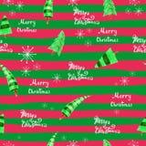 Fondo senza cuciture di Natale con gli alberi di Natale ed i fiocchi di neve Buon Natale dell'iscrizione Fotografie Stock Libere da Diritti