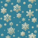 Fondo senza cuciture di Natale dall'applique dei fiocchi della neve su fondo blu ENV 10 illustrazione vettoriale