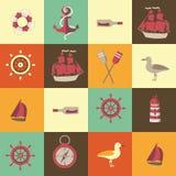 Fondo senza cuciture di navigazione con gli elementi del mare Fotografia Stock Libera da Diritti