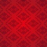 Fondo senza cuciture di rosso del modello del damasco Fotografie Stock