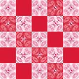 Fondo senza cuciture di rosso e di bianco con i fiori Fotografie Stock