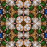 Fondo senza cuciture di struttura del caleidoscopio del mosaico - il verde smeraldo, lo zaffiro blu e l'agata marrone colorati ha Immagini Stock