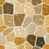 Fondo senza cuciture di superficie con malta liquida grigia - colore giallo marrone beige naturale del modello di mosaico del pav Fotografia Stock Libera da Diritti