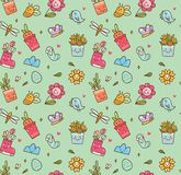 Fondo senza cuciture di tema della primavera nel vettore di stile di kawaii royalty illustrazione gratis