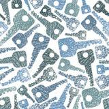 Fondo senza cuciture di tema di sicurezza, modello senza cuciture di chiavi, vecto Fotografia Stock