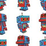 Fondo senza cuciture di vecchi robot del giocattolo Immagine Stock