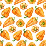 Fondo senza cuciture di verdure di struttura del modello del pepe bulgaro della campana dolce di giallo arancio dell'acquerello Fotografie Stock Libere da Diritti