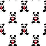 Fondo senza cuciture di vettore con i panda ed i cuori svegli Orsi di panda senza cuciture royalty illustrazione gratis