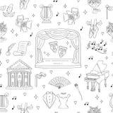 Fondo senza cuciture di vettore con i simboli del teatro Fotografia Stock