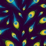 Fondo senza cuciture di vettore con le piume del pavone Fotografia Stock Libera da Diritti