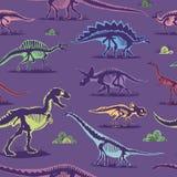 Fondo senza cuciture di vettore del modello di colore d'annata del dinosauro Fotografie Stock