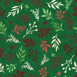 Fondo senza cuciture di vettore di Natale con le foglie dell'estratto rosse, verde, beige Struttura della foglia semplice, modell illustrazione vettoriale