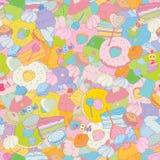 Fondo senza cuciture di vettore variopinto dolce dei dolci illustrazione di stock