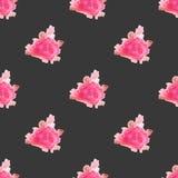 Fondo senza cuciture dipinto a mano del modello del fiore rosa dell'acquerello Fotografia Stock