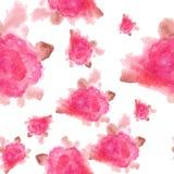 Fondo senza cuciture dipinto a mano del modello del fiore rosa dell'acquerello Immagini Stock
