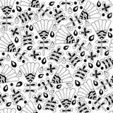 Fondo senza cuciture floreale del modello di in bianco e nero Immagini Stock Libere da Diritti