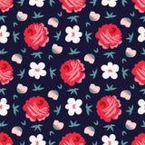 Fondo senza cuciture floreale disegnato a mano Fotografia Stock