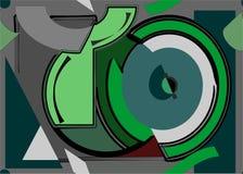 fondo senza cuciture, forme geometriche variopinte su verde 18-40 Illustrazione Vettoriale