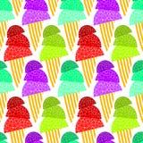 Fondo senza cuciture gassate dei coni di gelato Fotografie Stock Libere da Diritti