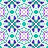 Fondo senza cuciture geometrico dell'acquerello macchie, gocciolamenti, acquerello trascurato Illustrazione Handmade immagini stock