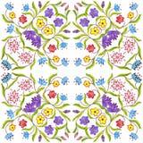 Fondo senza cuciture geometrico floreale dell'acquerello macchie, gocciolamenti, acquerello trascurato Illustrazione Handmade fotografia stock